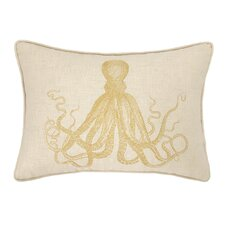 Octopus Embroidered Decorative Linen Lumbar Pillow
