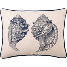 Embroidered Double Conch Linen Throw Pillow