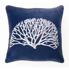 Embroidered Coral Fan Linen Throw Pillow