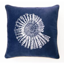 Embroidered Nautilus Linen Throw Pillow