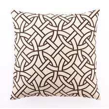 Embroidered Circle Link Linen Throw Pillow