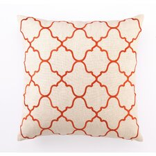 Embroidered Moroccan Tile Linen Throw Pillow