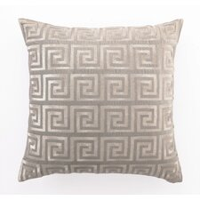 Embroidered Greek Key Linen Throw Pillow
