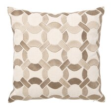 Embroidered Mod Link Linen Throw Pillow