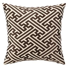 Embroidered Cross Hatch Linen Throw Pillow