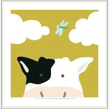 Peek-a-Boo III Cow by Yuko Lau Framed Art