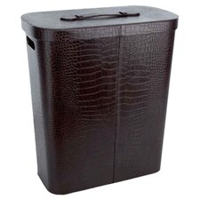 Croco Grained Laundry Basket in Brown