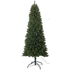 7.5' PVC Slim Artificial Christmas Tree with 350 White Lights