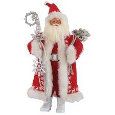 Silver Snowflake Santa Figurine
