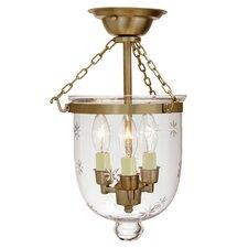 3 Light Small Bell Jar Semi Flush Mount with Star Glass