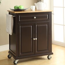Kate Kitchen Cart with Wood Top