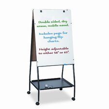 Best-Rite® Wheasel® Easel Dry Casters Mobile Free Standing Whiteboard, 5' H x 2' W