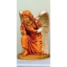"27"" Scale Kneeling Angel Figurine with Pink Gown"