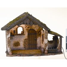 "10"" Lighted Medium Nativity Stable"