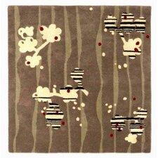 Brown / Light Yellow Cherry Blossom Area Rug