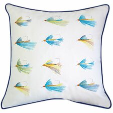 Lake Retreat Flyfish Hooks Outdoor Sunbrella Throw Pillow