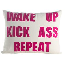 Mantras Wake Up Kick Ass Repeat Throw Pillow