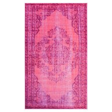 Remade Distressed Overdyed Pink Area Rug