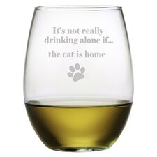 The Cat is Home 19 Oz. Stemless Wine Glass (Set of 4)