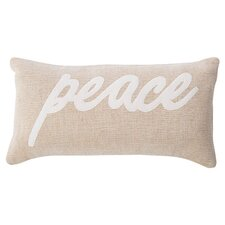 Peace Pillow in Beige and White