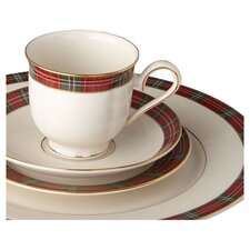 Winter Greetings Plaid 5 Piece Place Setting