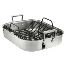 "Stainless Steel 14"" Petite Roasting Pan with Rack"