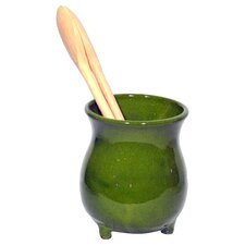 Terracotta Utensil Holder in Green