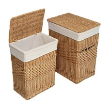 2 Piece Wicker Hamper Set
