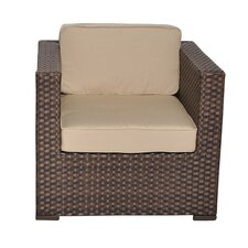Bellagio Arm Chair PVC Wicker Brown with Beige Cushions