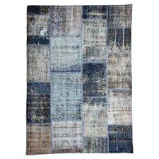 Handgewebter Teppich Vintage in Grau/Blau