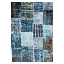 Handgewebter Teppich Vintage in Blau