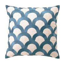 Embroidered Scales Linen Throw Pillow