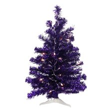 2' Purple Iridescent Pine Artificial Tinsel Christmas Tree with Clear Lights