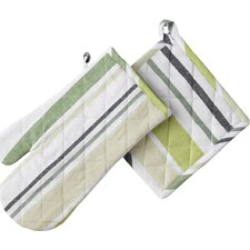 Striped Print Oven Mitt & Pot Holder
