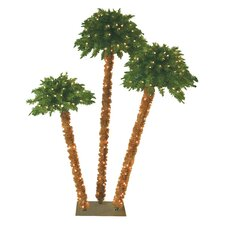 6' Green Tropical Artificial Triple Headed Christmas Palm Tree with 350 Yellow Lights