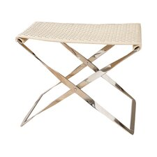 Woven Cowhide Leather Folding Bench
