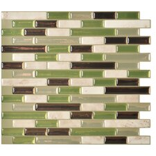 "Mosaik Muretto Eco 10.20"" x 9.10"" Peel & Stick Wall Tile in Ivory/Taupe/Light Green/Bronze"