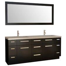 """Moscony 72"""" Double Bathroom Vanity Set with Mirror"""