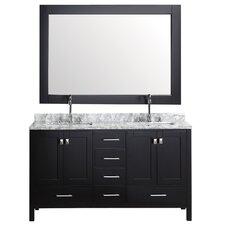 """London 60.75"""" Double Bathroom Vanity Set with Mirror"""
