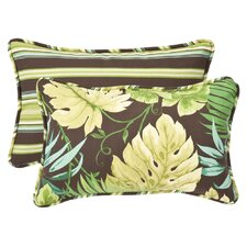 Outdoor Floral & Striped Lumbar Pillow (Set of 2)