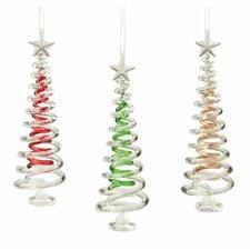 3 Piece Tree Glass Ornament Set