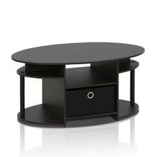 Furinno JAYA Simple Design Oval Coffee Table with Bin, Walnut, 15079WNBK