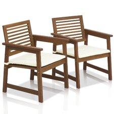 Tioman Teak Hardwood Outdoor Chair with Cushion (Set of 2)