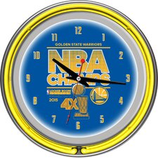 """NBA Golden State Warriors 2015 Champions 14.5"""" Double Ring Neon Wall Clock"""