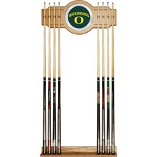 University of Oregon Wood and Mirror Wall Cue Rack