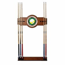 Nine Ball 2-Piece Wood and Mirror Wall Cue Rack