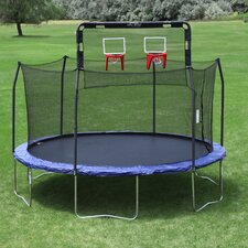 Double Basketball Hoop in Fits 15' Round 6 Pole Skywalker Trampoline