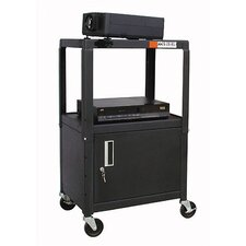 Adjustable Steel AV Cart with Locking Cabinet