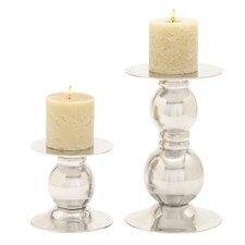 2 Piece Aluminum Candlestick Set