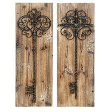 2 Piece Enchanting Key Door Wall Décor Set